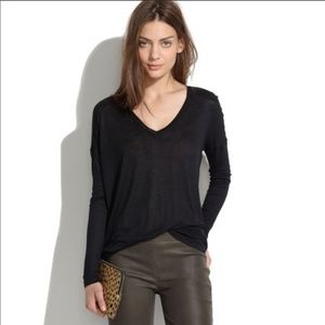 Madewell All Around Long Sleeve Tee Shirt Black S